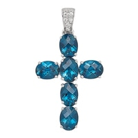 Gem RoManse 10K Gold London Gemstone Cross Pendant (No Chain Included)