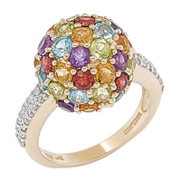 Gem RoManse 10K Yellow Gold Multi Gem Dome Cluster Ring