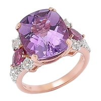 Gem RoManse 14K Rose Gold Vermeil Chushion Amethyst with Rhodolite & White Topaz Ring