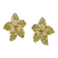 Gem RoManse 10K Gold Flower Stud Earrings