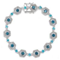 Gem RoManse Sterling Silver Gemstone Hexagon Station Bracelet