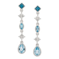 Gem RoManse Sterling Silver Rhodium Plated Blue Topaz & White Topaz Dangle Earrings