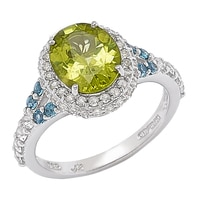 Gem RoManse Sterling Silver Rhodium Plated Peridot with London Blue & White Topaz Ring