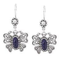 Ottoman Silver Sterling Silver Gemstone Butterfly Earrings