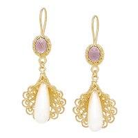 Ottoman Silver Sterling Silver Yellow Gold Plate Pearl & Gemstone Drop Earrings