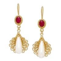 Pendants d'oreille parés de perles et de gemmes sur argent sterling plaqué or jaune de Ottoman Silver
