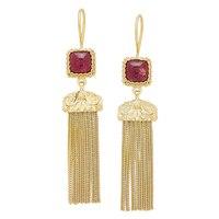 Ottoman Silver Sterling Silver Yellow Gold Plate Gemstone Tassel Earrings