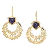 Ottoman Silver Sterling Silver Yellow Gold Plate Gemstone Earrings