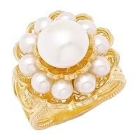 Ottoman Silver Sterling Silver Yellow Gold Plate Pearl Flower Ring