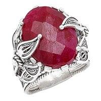 Ottoman Silver Sterling Silver Gemstone Floral Design Ring