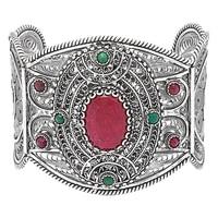 Bracelet manchette en argent sterling paré de gemmes multicolores de Ottoman Silver
