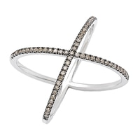 Clarity Diamonds Sterling Silver X Diamond Ring