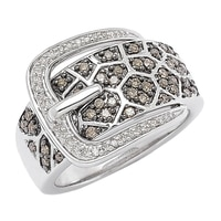 Clarity Diamonds Sterling Silver Diamond Buckle Ring