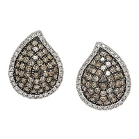Clarity Diamonds Sterling Silver Diamond Teardrop Earrings