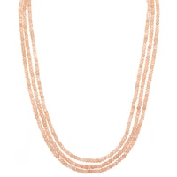 3-Strand Peach Moonstone Bead Necklace