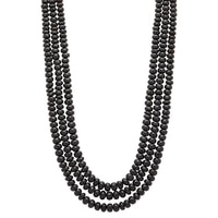 Gem Finds Three-Strand Black Tourmaline Bead Necklace
