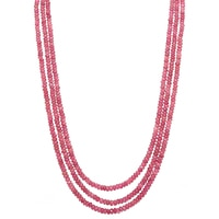 Gem Finds Three-Strand Pink Tourmaline Bead Necklace