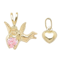 International Gold 10K Yellow Gold Angel & Puffed Heart Charm Duo