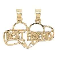 Breloque en or jaune 10 ct avec l'inscription « Best friend » de International Gold
