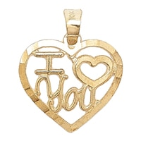Breloque en or jaune 10 ct avec l'inscription « I love you » de International Gold