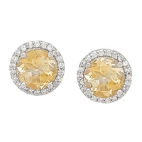 Sterling Silver 8mm Citrine Stud Earrings