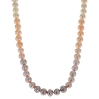 Imperial Pearls Sterling Silver 8.3-9.3mm Natural Multi-colour Freshwater Pearl Necklace