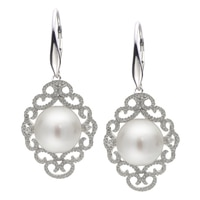 Imperial Pearls Sterling Silver 9.5-10mm Freshwater Pearl & White Topaz Earrings