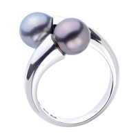 Imperial Pearls Sterling Silver 8-9mm Tahitian Pearl Bypass Ring