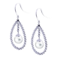 Imperial Pearls Sterling Silver Freshwater Pearl with Brilliance Bead Earrings
