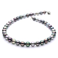 Imperial Pearls Sterling Silver 8-10mm Natural Multi-colour Tahitian Pearl Necklace