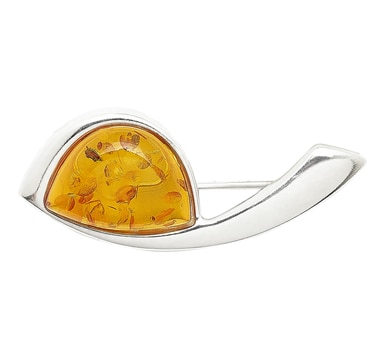 Amber Extraordinaire Sterling Silver Delta Pin