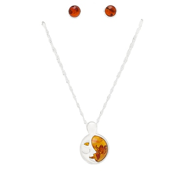 Amber Extraordinaire Sterling Silver Moon Motif Pendant and Earring Set
