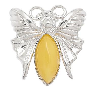 Épinglette en forme de papillon sur argent sterling de Amber Extraordinaire