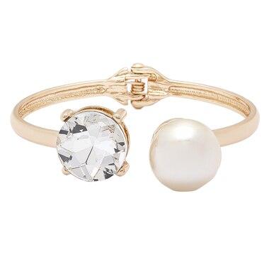 Bracelet tubulaire à charnière orné d'un cristal et d'une perle de GLAMOUR