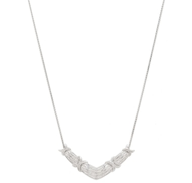 Clarity Diamonds Sterling Silver Diamond Chevron Necklace