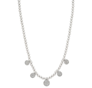 Emma Skye Stainless Steel Beaded Necklace with Crystal Drops