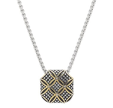 Emma Skye Stainless Steel Two Tone Caviar Lattice Pendant Necklace
