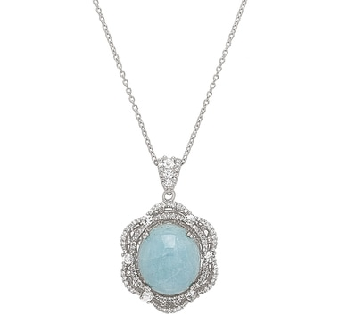 Dallas Prince Sterling Silver Aquamarine & White Zircon Pendant with Chain