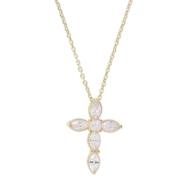 Toscana Diamonelle Sterling Silver Cross Pendant with Chain