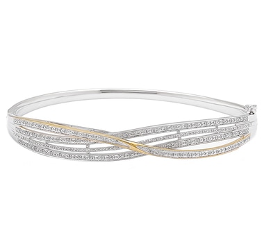 Clarity Diamonds Sterling Silver Diamond Crossover Hinged Bangle