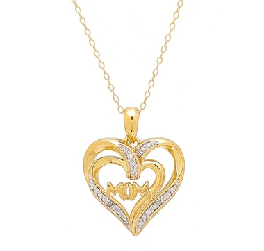Clarity Diamonds Sterling Silver Diamond Accent Mom Heart Pendant & Chain