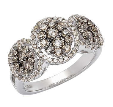 Clarity Diamonds Sterling Silver Sunset & White Diamond Trinity Ring