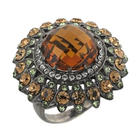 Sterling Silver & Black Rhodium Plated Created Madeira Citrine Ring