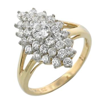 Bague en or 10 ct ornée d\'un noeud de pierres Diamonelle et d\'une pierre centrale à taille marquise