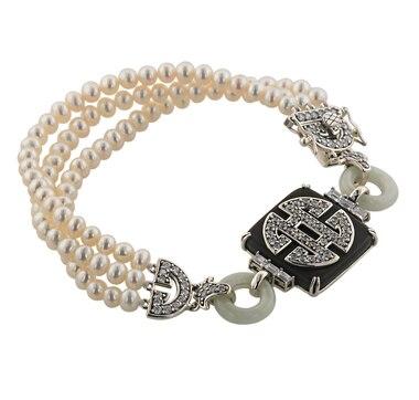 Jade of Yesteryear Sterling Silver Jade & Pearl Longevity Bracelet
