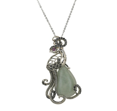 Jade of Yesteryear Sterling Silver Jade Pheonix Enhancer Pendant with Chain