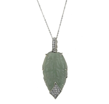 Jade of Yesteryear Sterling Silver Carved Jade Leaf Pendant with Chain
