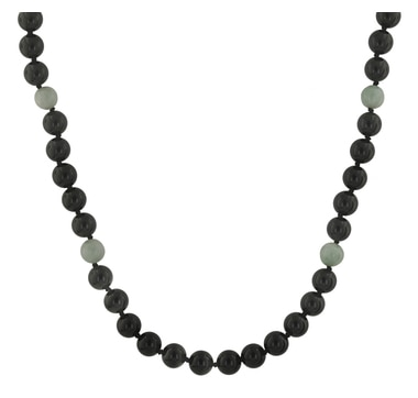 Jade of Yesteryear Sterling Silver Onyx & Jade Toggle Necklace
