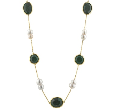 Sterling Silver Gold Plated Emerald and Pearl Station Necklace