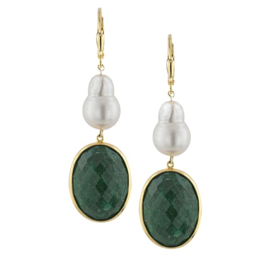 Sterling Silver Gold Plate Emerald & Pearl Earrings